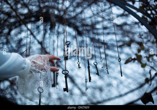 Woman reaches for keys in a tree - Stock Image