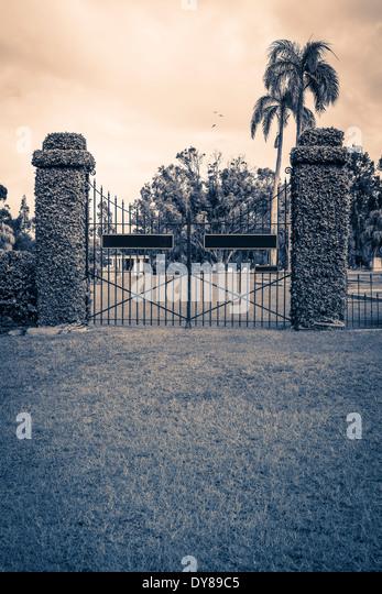 A vine covered cemetery gate in a tropical region. - Stock-Bilder