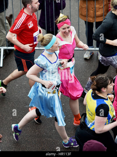 Brighton Sussex, UK. 26th Feb, 2017. Thousands of runners taking part in the Vitality Brighton Half Marathon in - Stock Image