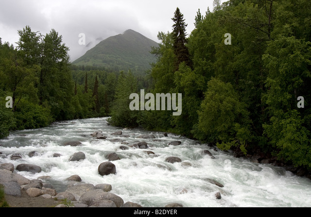 Wild running river, Hatcher Pass Road Alaska - Stock Image