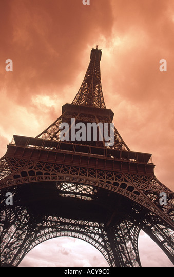 France Paris Eiffel tower sepia blurred - Stock Image