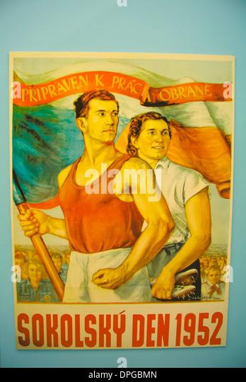 Sokol poster from Socialist era Armadni muzeum the military museum of Czechoslovakia Zizkov district Prague Czech - Stock Image