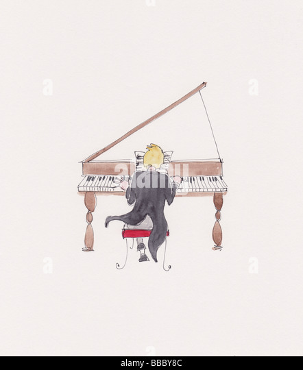 Watercolour illustration of a man playing a grand piano - Stock-Bilder