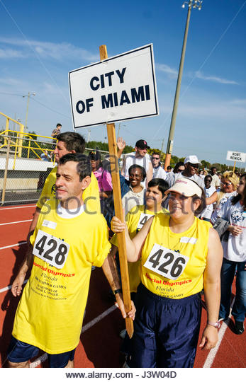 Miami Florida Miami Dade College North Campus Special Olympics disabled competition sports athlete volunteer acceptance - Stock Image