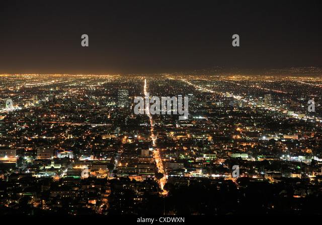 Los Angeles at night, Los Angeles, California, United States of America, North America - Stock Image