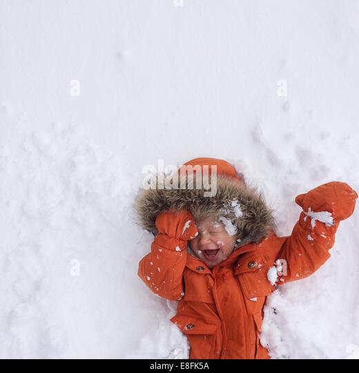 Lake Tahoe, California, United States of America Baby Snow Joy - Stock Image