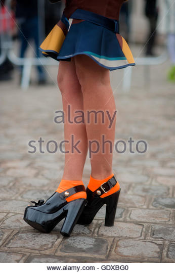 Old Person Wearing Black Shoes Front View