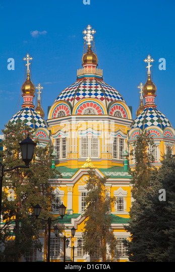 Zenkov Cathedral, built entirely of wood, Panfilov Park, Almaty, Kazakhstan, Central Asia, Asia - Stock-Bilder