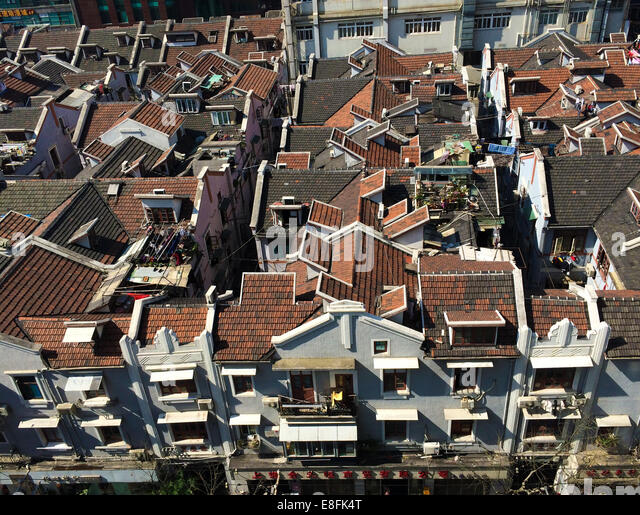 Shanghai, China Looking Down On Traditional Old Homes Yongshou Lu, Shanghai, China - Stock Image