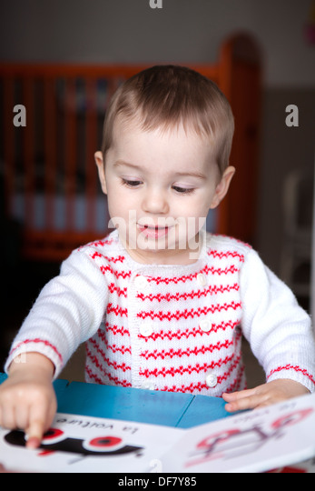 Boy Child 3 Years Old Read Book Stock Photos & Boy Child 3