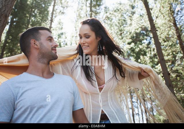 Young couple in forest - Stock-Bilder