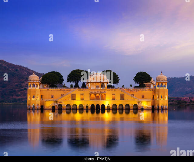 Rajasthan landmark - Jal Mahal Water Palace on Man Sagar Lake in the evening in twilight. Jaipur, Rajasthan, India - Stock Image