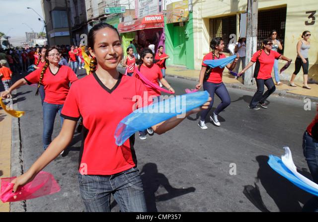 Chile Arica Avenida Arturo Prat 'Carnaval Andino' Andean Carnival parade indigenous Aymara heritage folklore - Stock Image