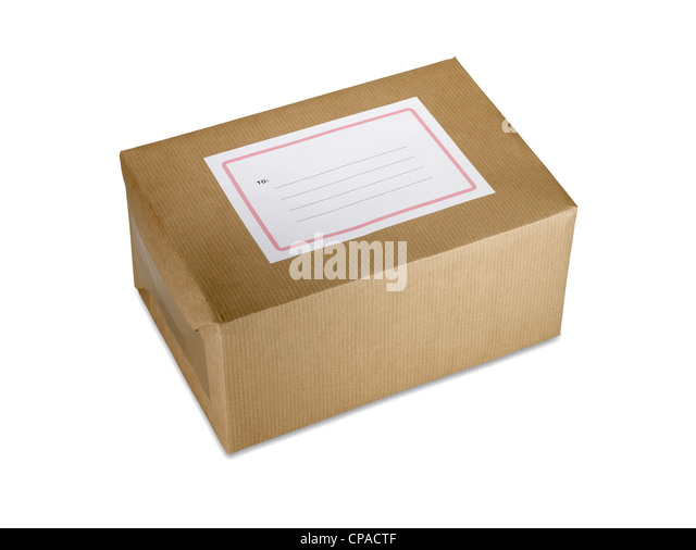 a brown paper parcel present with blank copy space label isolated on white clipping path - Stock Image