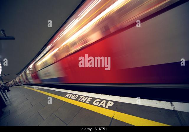 London Underground Platform Britain UK - Stock Image