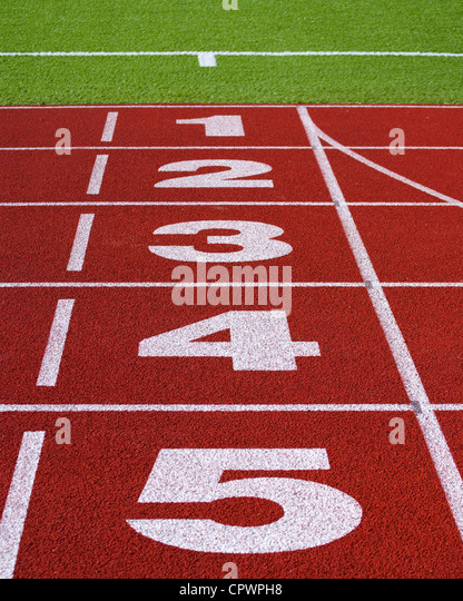 Perspective picture of start or finish position on running track - Stock Image