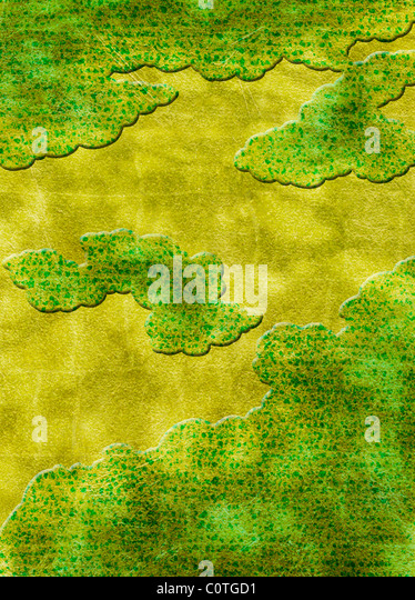 Green Mist on Gold Backgrounds - Stock-Bilder