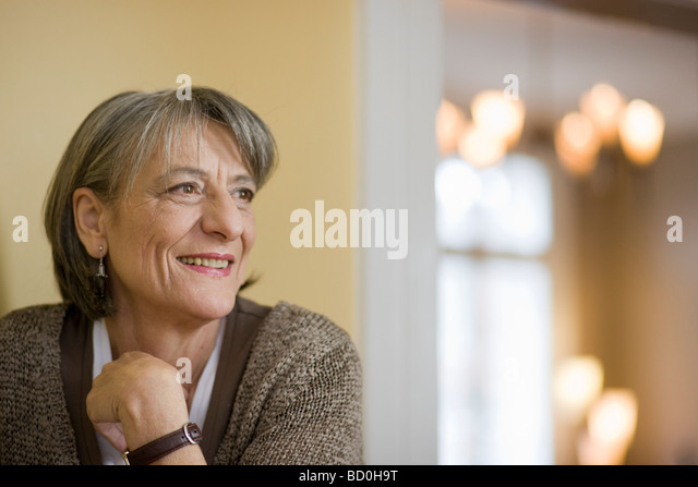 happy old woman smiling - Stock Image