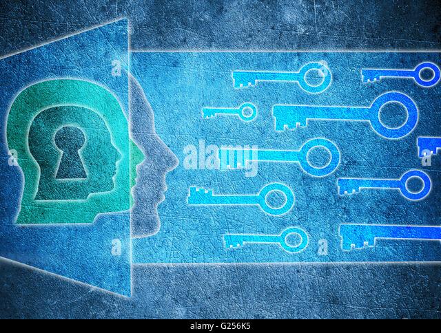 blue human head  with keyhole and keys psychology concept digital illustration - Stock Image