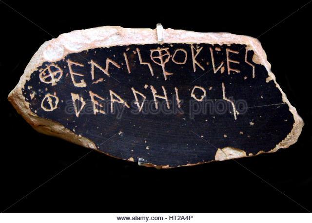 Ostrakon: Ostracism against Themistokles, 5th cen. BC. Artist: Antique Art - Stock Image