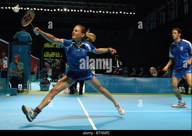 Badminton mixed doubles - Stock Image