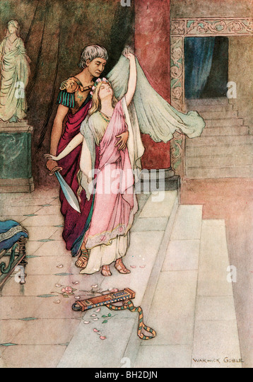 Virginius and Virginia, by Warwick Goble, from The Complete Poetical Works of Geoffrey Chaucer, 1912. - Stock Image