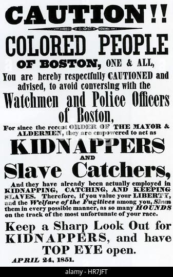 AMERICAN FUGITIVE SLAVE LAW 1850.    Poster printed in Boston dated 24 April 1851 - Stock-Bilder