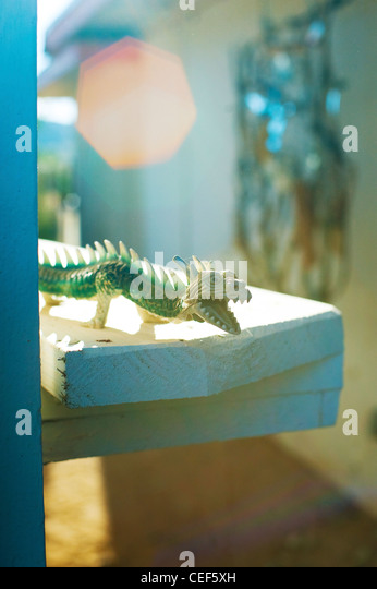 A child's plastic lizard setting on a rustic home ledge. - Stock Image