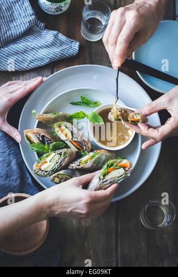Zucchini summer rolls - Stock Image