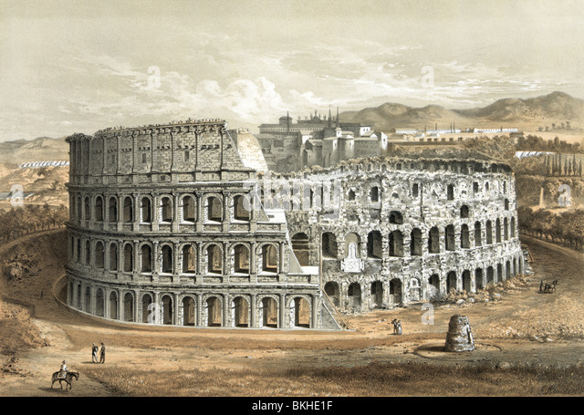 Vintage lithograph print circa 1872 of the Colosseum in Rome, Italy, as it appeared in the latter part of the 19th - Stock Image