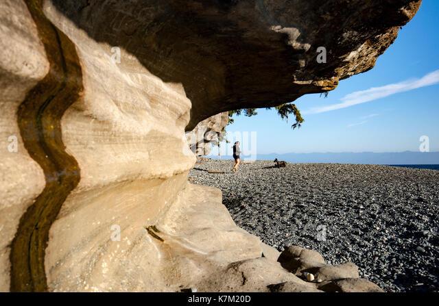 Sandstone cliffs on Sandcut Beach - Jordan River Regional Park - near Sooke, Vancouver Island, British Columbia, - Stock Image