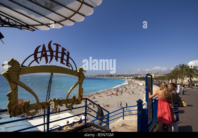 France Nice Promenade des Anglais Castel beach entrance - Stock Image