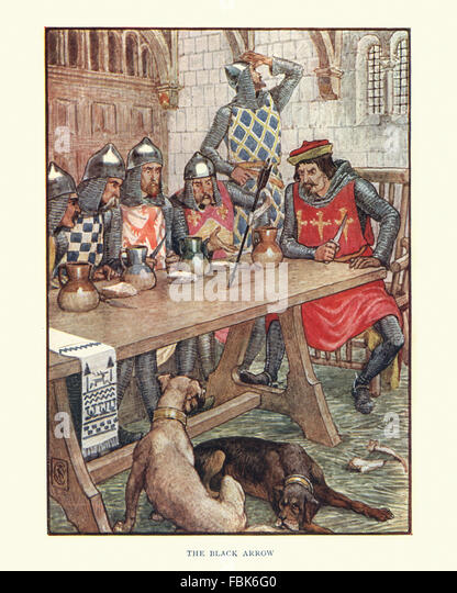 Illustration from the story of Robin Hood. Robin Hood and the Black Arrow. By Walter Crane - Stock Image