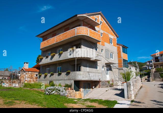 House in the process of being built Stari Grad,  Dalmatia Croatia Europe - Stock Image