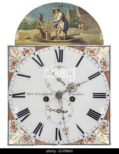 ANTIQUES: Clock Dial by Wm. Crawford of Dundee (ca.1850 to 1850) - Stock-Bilder