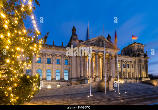 The Reichstag at Christmas, Berlin, Germany - Stock Image