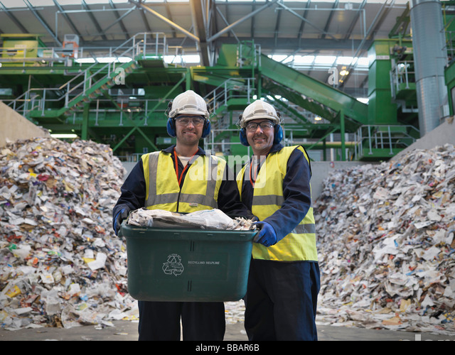 Workers With Waste Recycling Box - Stock Image