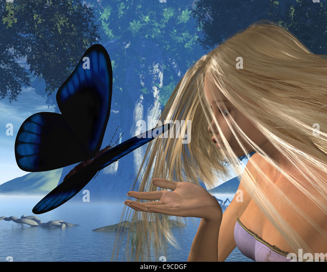 Blue Butterfly and Water Nymph in Woodland Glade - Stock Image