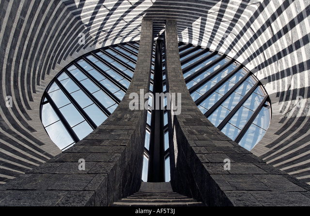 Switzerland Ticino Mogno village church designed by Mario Botta - Stock Image