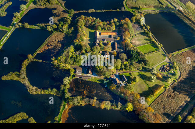 Aerial view, Gut Rietberg manor and the grounds of the 2008 State Garden Show, Rietberg, Ostwestfalen-Lippe - Stock Image