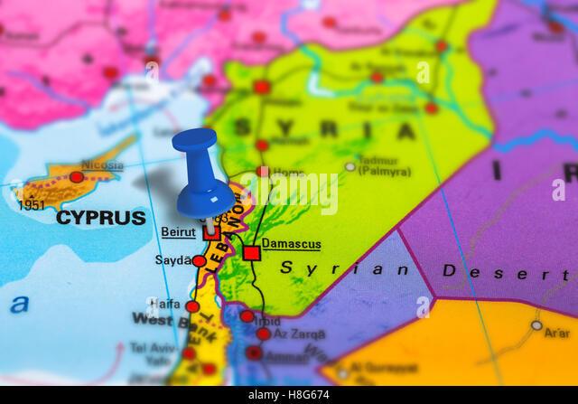 Beirut Lebanon map - Stock Image