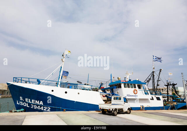 Commercial fishing boat, Limassol marina, Cyprus - Stock Image
