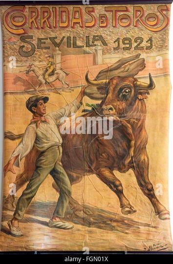 Hacienda Torralba-old bullfighting poster, Chucena, Huelva province, Region of Andalusia, Spain, Europe - Stock Image