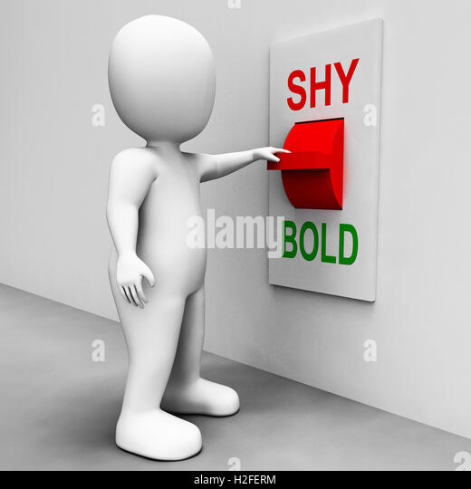 Shy Bold Switch Means Choose Fear Or Courage - Stock Image