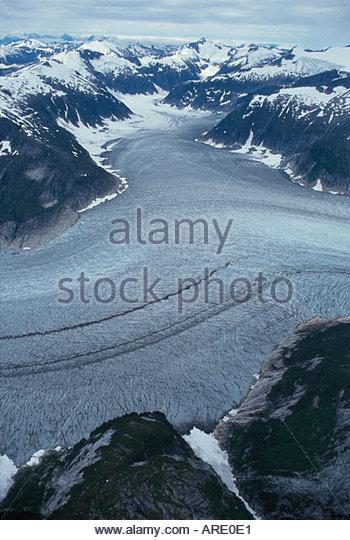 Alaska Juneau Taku Glacier Era Helicopter Flightseeing Tour aerial - Stock Image