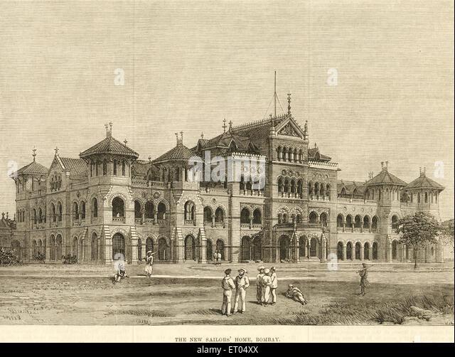 Old vintage 1900s Royal Alfred Sailors Home now Maharashtra Police Headquarters , Colaba , Bombay , Mumbai , Maharashtra - Stock Image