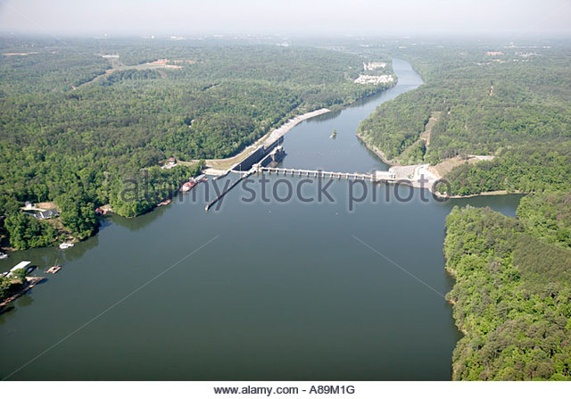 Tuscaloosa Alabama Black Warrior River Holt Lock and Dam aerial - Stock Image