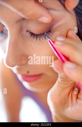 Eye lashes extensions - Stock Image