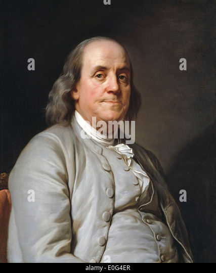 Benjamin Franklin Ben Franklin Portrait painting by Joseph-Siffred Duplessis 1785. - Stock Image