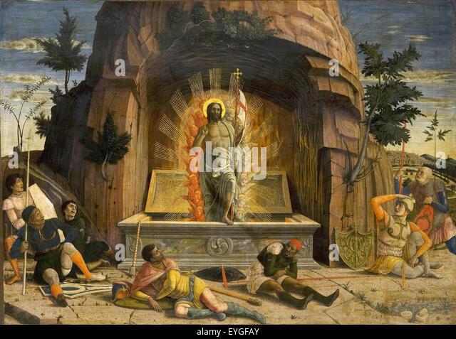Andrea Mantegna - The Resurrection - XV th century - Italian - Stock Image
